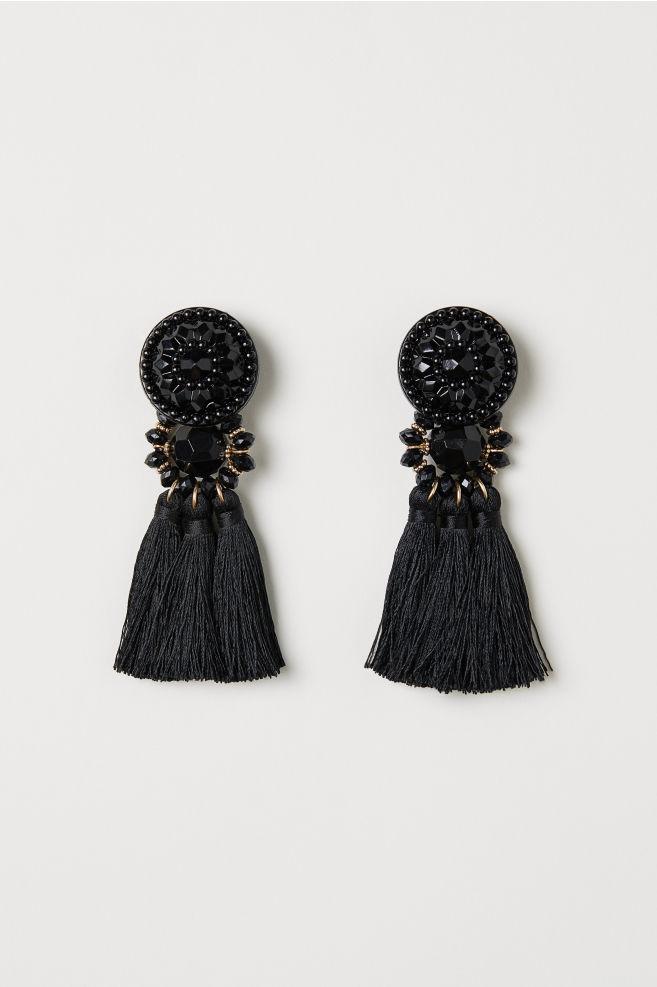 79236387c Náušnice so strapcami - čierna - ŽENY | H&M ...