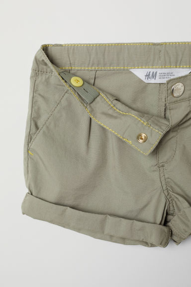 Cotton shorts - Khaki green -  | H&M CN