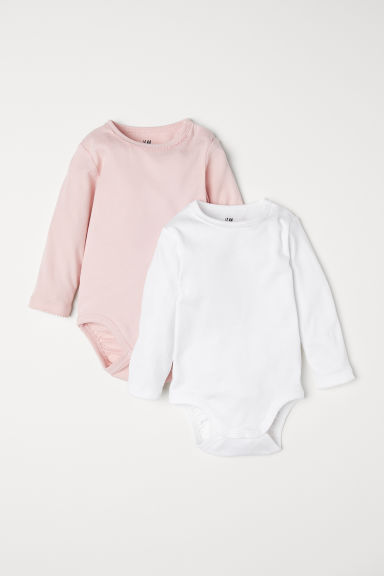 2-pack long-sleeved bodysuits - Powder pink/White - Kids | H&M