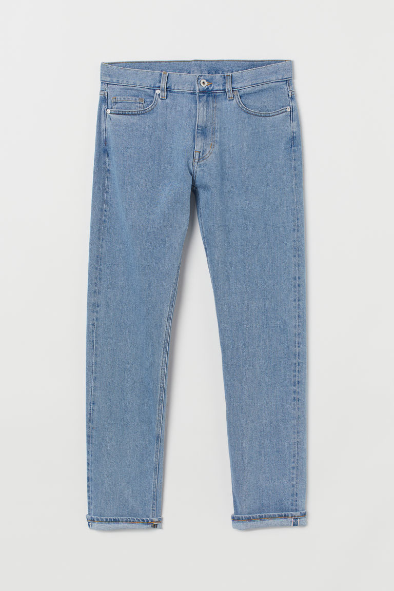 Slim Straight Selvedge Jeans - Light denim blue - Men | H&M