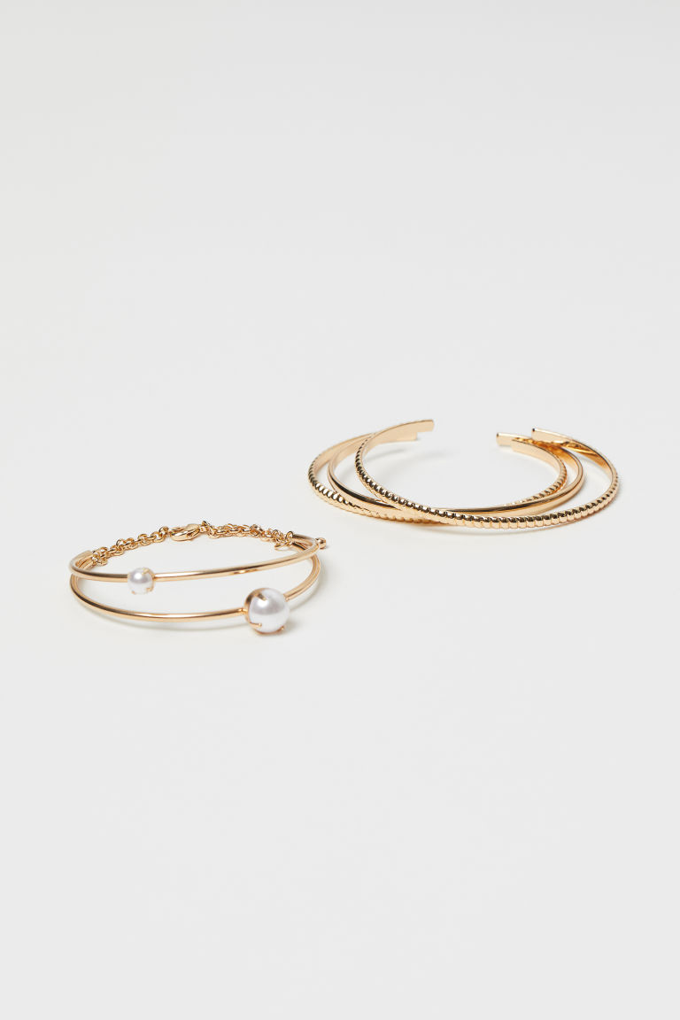 4-pack Bangles - Gold-colored/white - Ladies | H&M CA