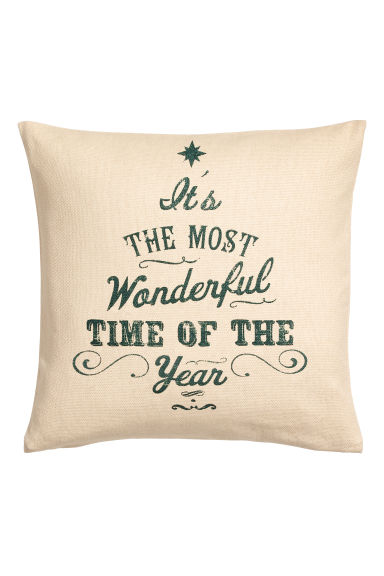 Christmas-print cushion cover - Light beige - Home All | H&M IE
