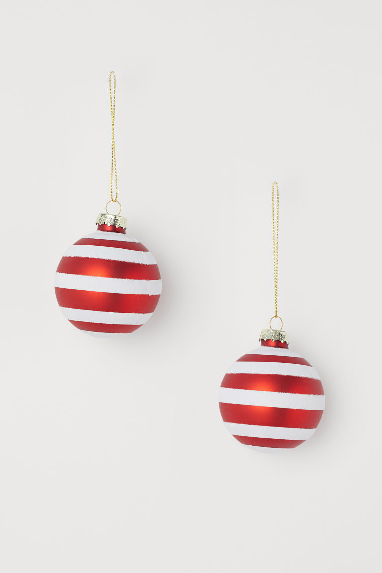 2-pack Christmas tree baubles - White/Red - Home All | H&M CN