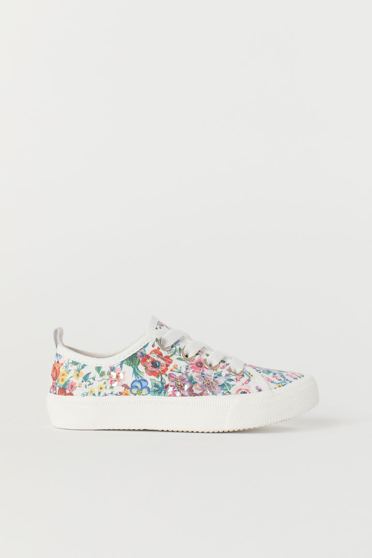 Sneakers with Sequins - White/floral - Kids | H&M CA
