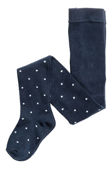 2-pack fine-knit tights - Dark blue/Spotted -  | H&M