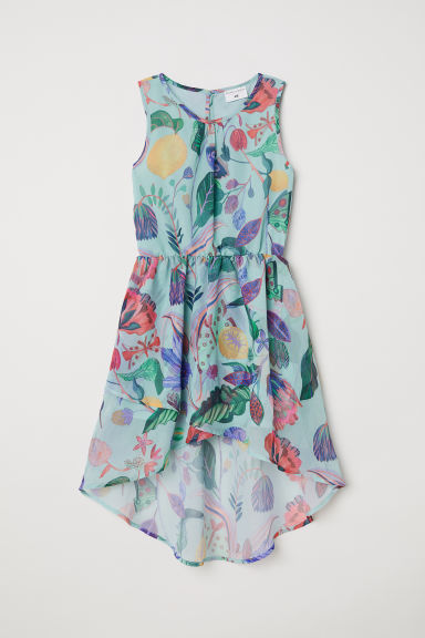Patterned chiffon dress - Light turquoise - Kids | H&M