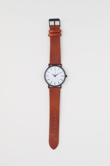 Watch with a leather strap - Cognac brown - Men | H&M CN