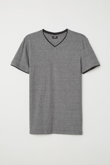 V-neck T-shirt Muscle Fit - Dark grey marl - Men | H&M CN