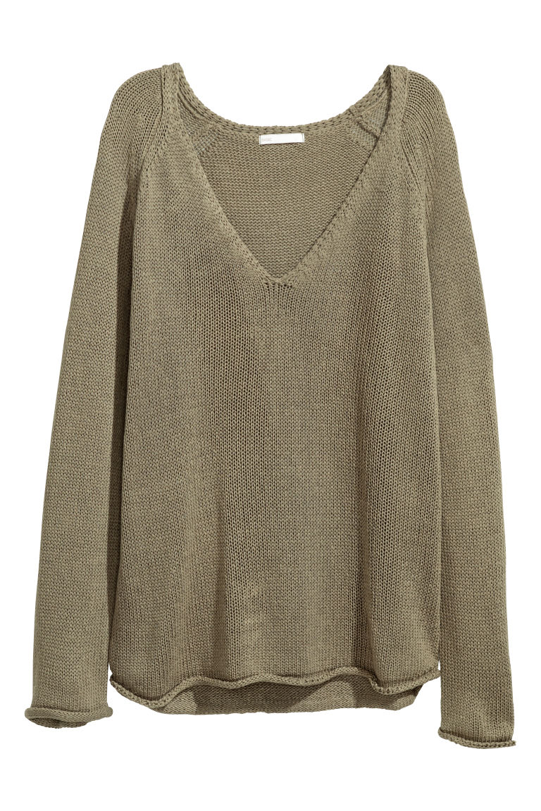 Loose-knit jumper - Khaki green - Ladies | H&M