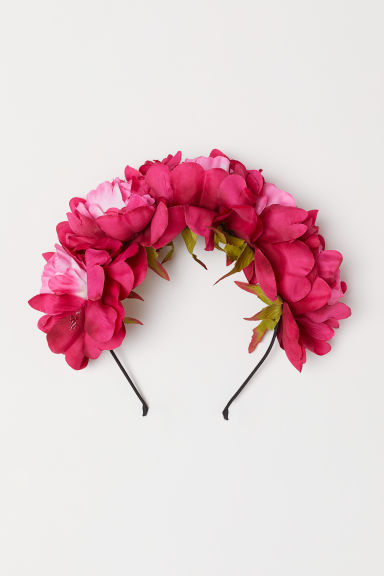 Alice band with flowers - Dark pink - Ladies | H&M