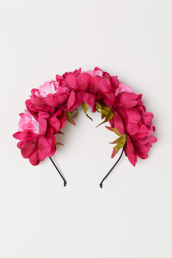 Hairband With Flowers Dark Pink Ladies Hm Us