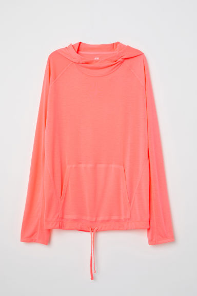 Hooded sports top - Neon coral - Ladies | H&M