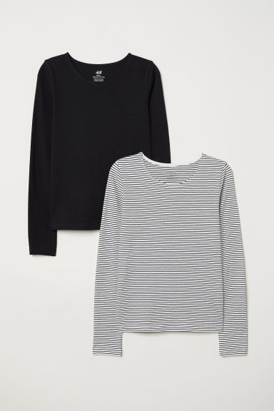 2-pack jersey tops - Black/Striped - Kids | H&M