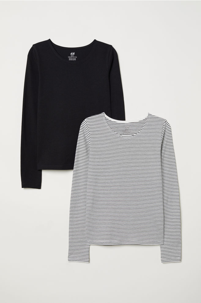 079a332ba9 2-pack jersey tops - Black/Striped - Kids   H&M ...