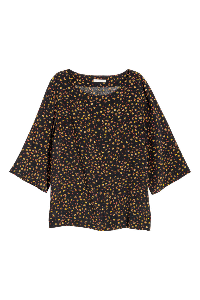 Short-sleeved blouse - Black/Patterned - Ladies | H&M