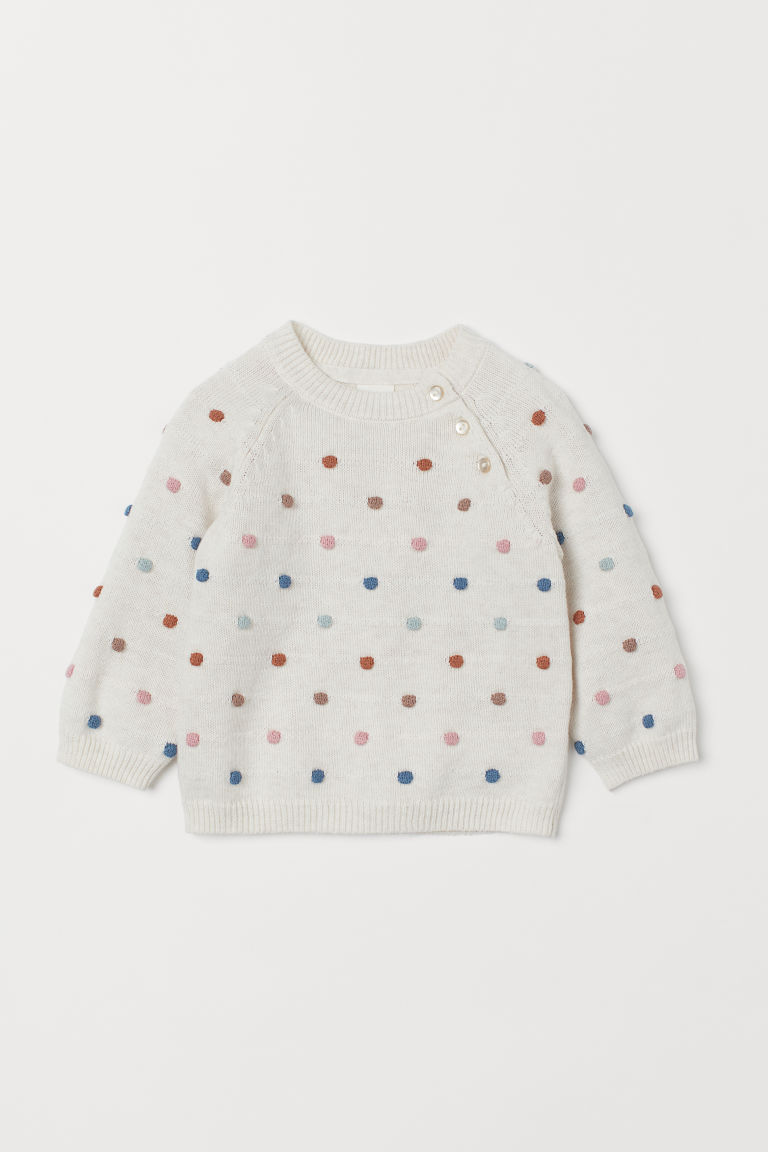 Knitted jumper - Natural white/Spotted - Kids | H&M