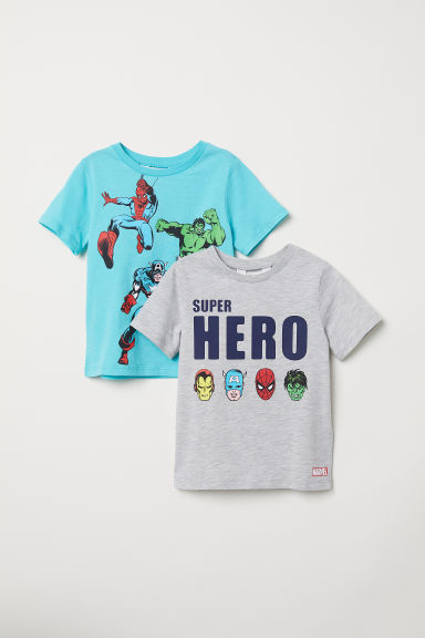 2-pack T-shirts - Grey marl/Avengers -  | H&M