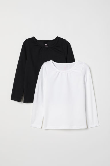 2-pack long-sleeved tops - White/Black - Kids | H&M