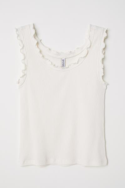 552be56ebe153 Tank Top with Ruffle Trim - White - Ladies
