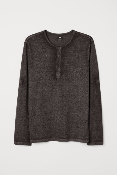 Cotton jersey Henley shirt - Dark grey - Men | H&M