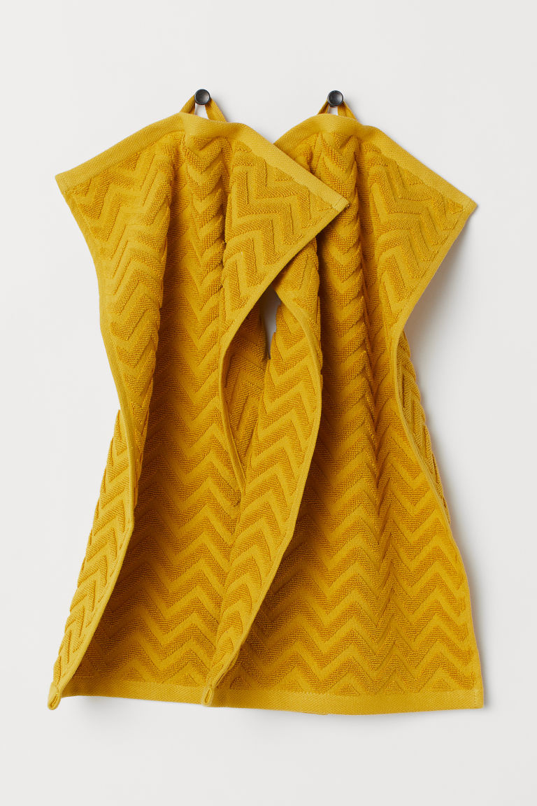 2-pack guest towels - Mustard yellow - Home All | H&M CN