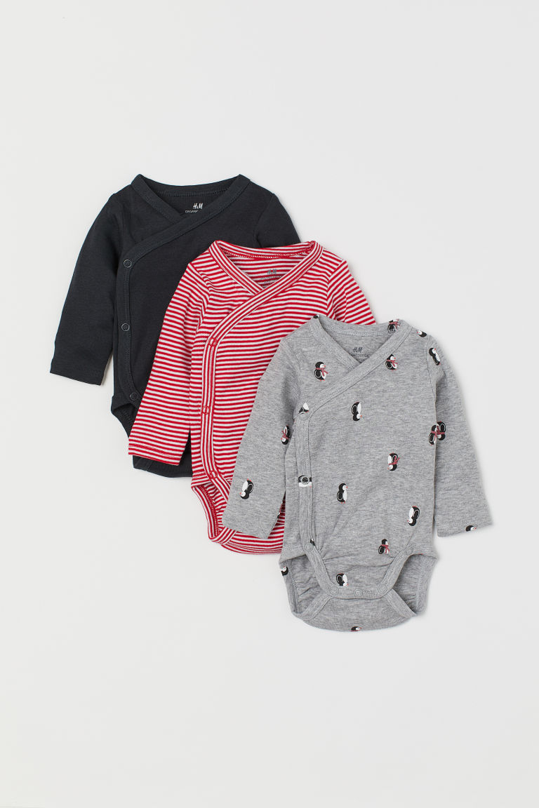 3-pack long-sleeved bodysuits - Grey marl/Penguins -  | H&M IN