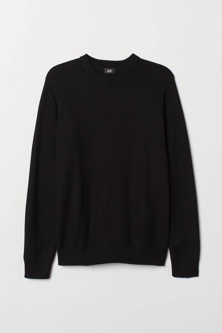 Fine-knit jumper - Black - Men | H&M