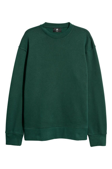 Sweater - Loose fit - Donkergroen -  | H&M NL
