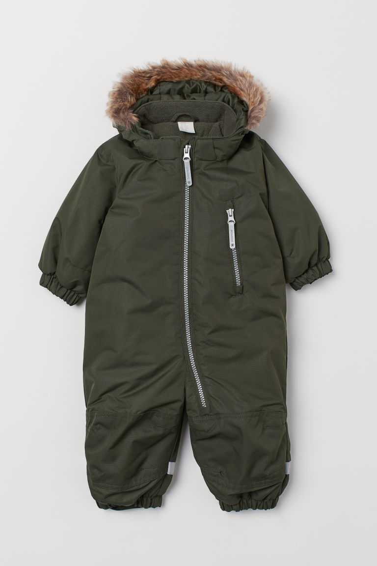 Water-repellent all-in-1 suit - Khaki green - Kids | H&M IN