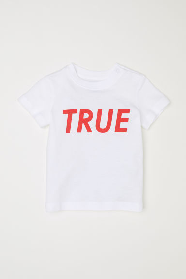 Text-print T-shirt - White/True -  | H&M CN