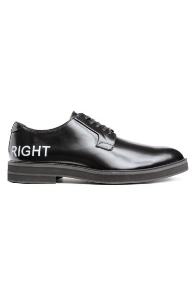 Derby shoes with a text print - Black - Men | H&M GB