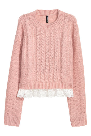 Short jumper with lace - Powder pink -  | H&M CN