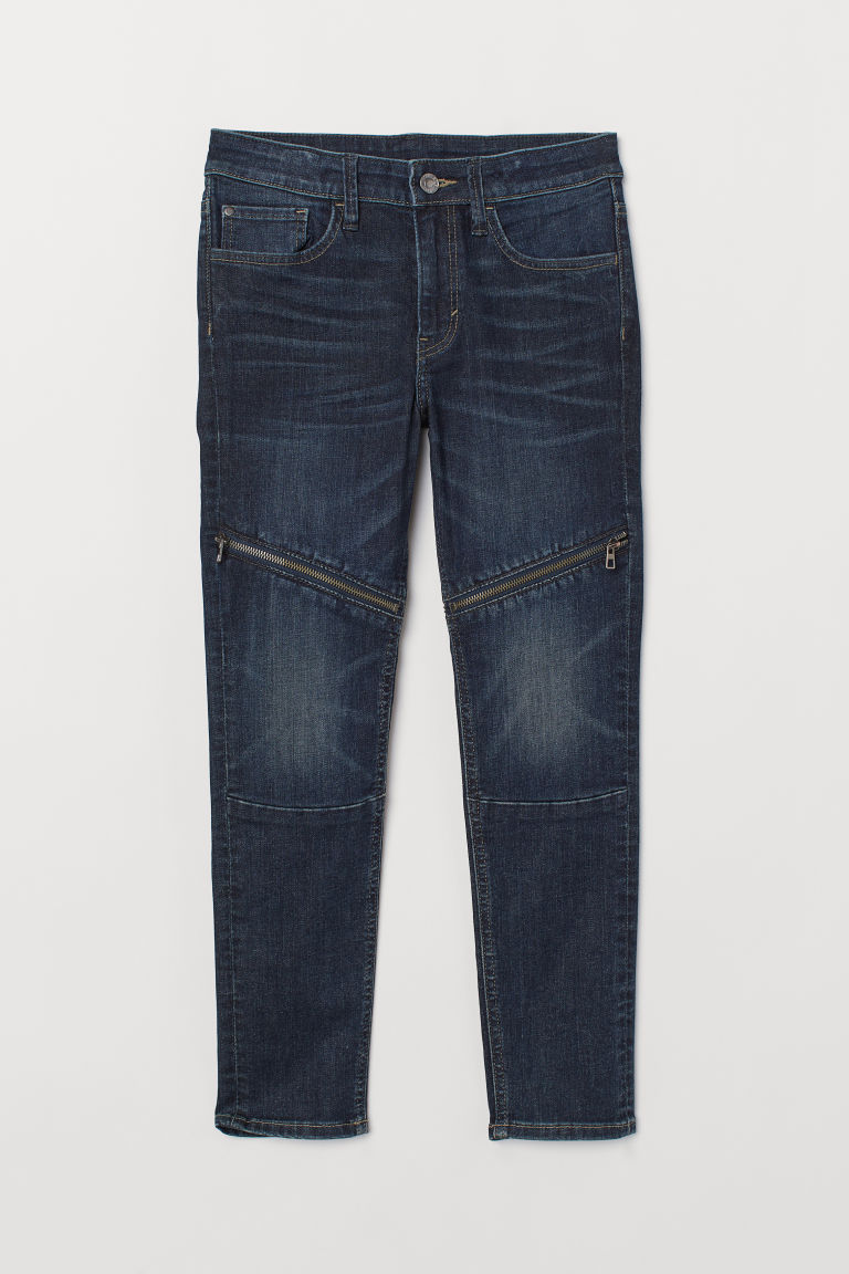 Skinny Fit Biker Jeans - Dark denim blue - Kids | H&M