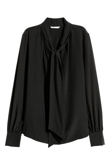 Tie-detail silk blouse - Black -  | H&M