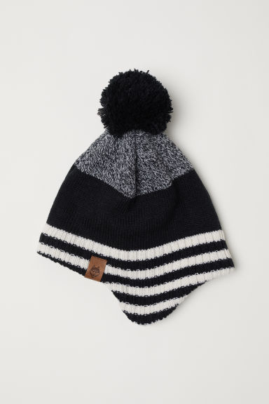 Fleece-lined hat with earflaps - Black/Striped - Kids | H&M
