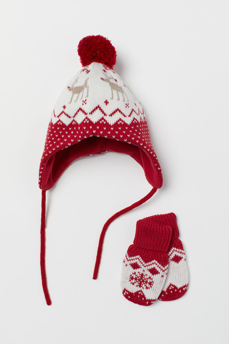 Hat and mittens - Red/Patterned - Kids | H&M CN
