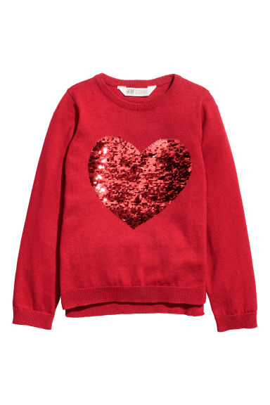 Sequined jumper - Red/Heart - Kids | H&M