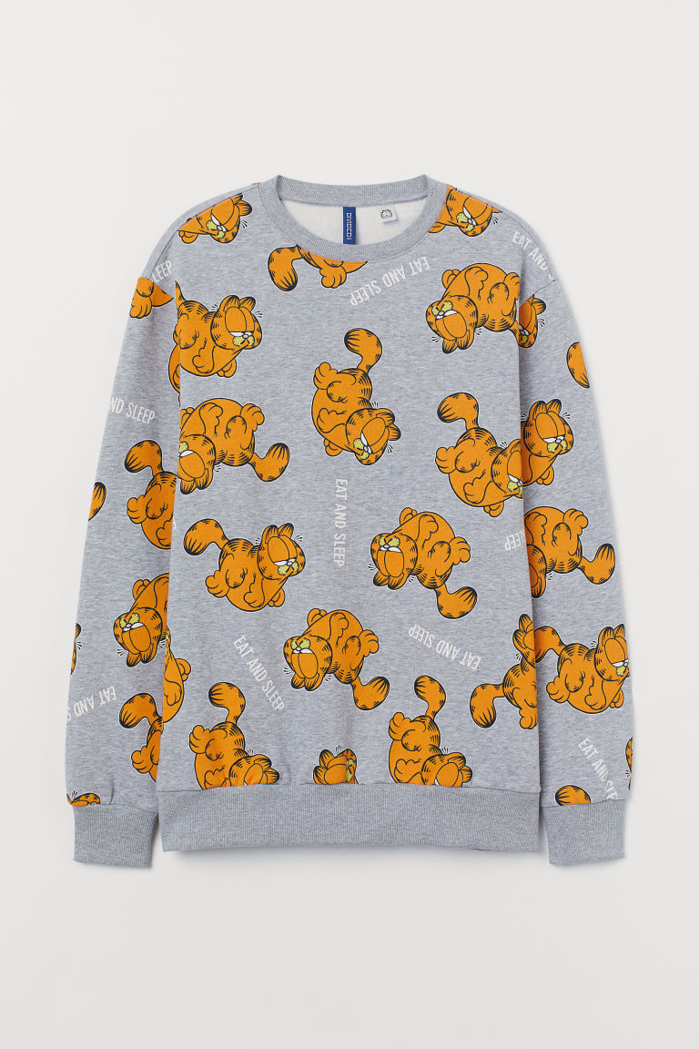 Printed sweatshirt - Grey marl/Garfield - Men | H&M