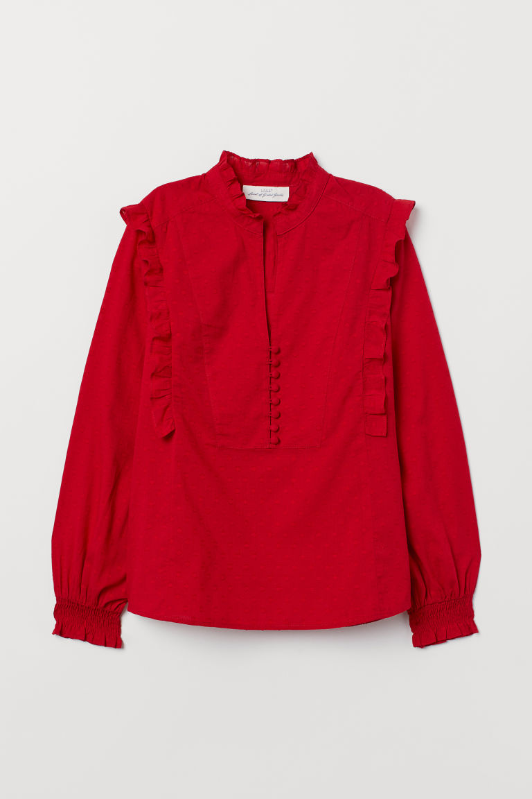 Stand-up collar cotton blouse - Red - Ladies | H&M CN