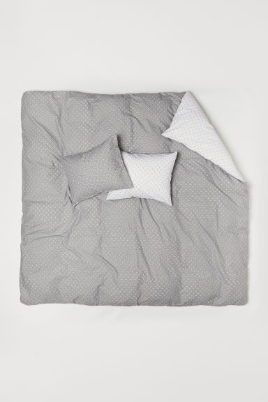 Patterned duvet cover set - Grey/White patterned - Home All | H&M CN