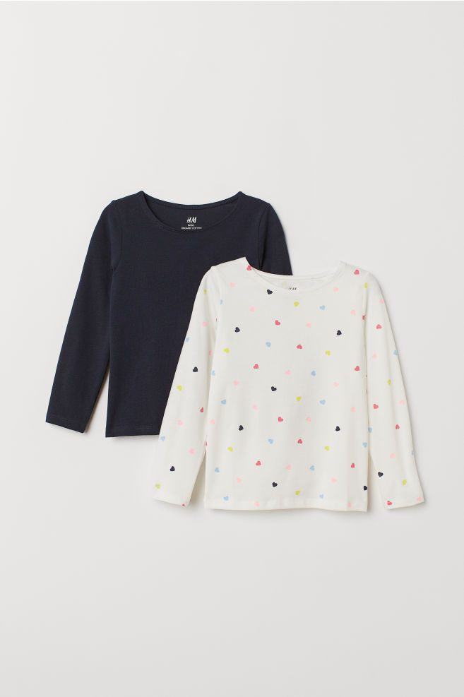 6df371bc 2-pack Long-sleeved Tops - White/hearts - | H&M ...