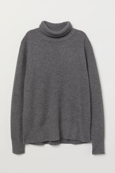 Cashmere-mix polo-neck jumper - Grey marl - Ladies | H&M GB