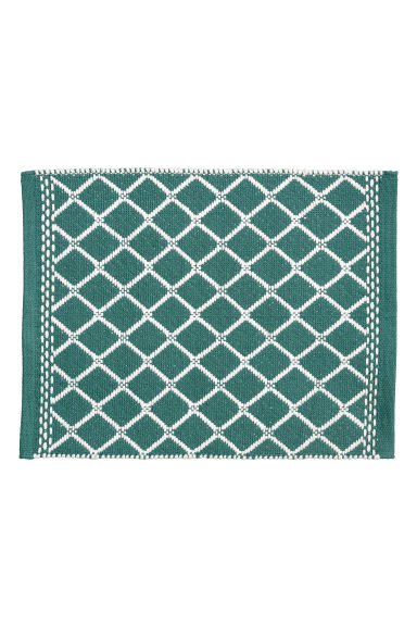 Jacquard-weave bath mat - Petrol/White - Home All | H&M IE