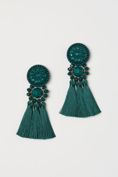 Earrings with tassels - Dark green - Ladies | H&M GB