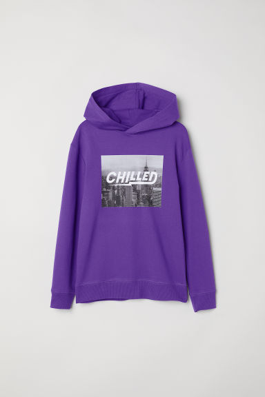Printed hooded top - Purple/Chilled - Kids | H&M