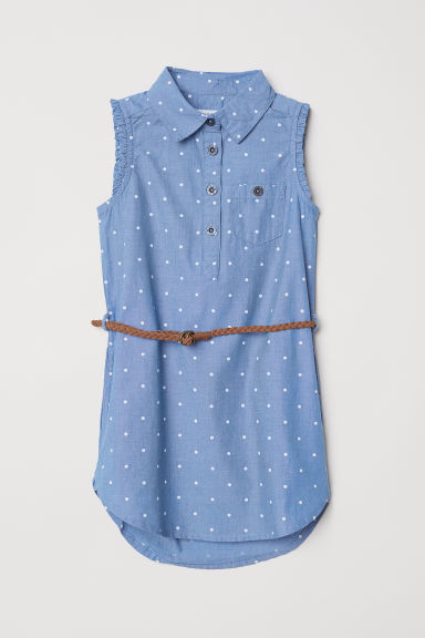 Shirt dress with a belt - Blue/Spotted -  | H&M CN