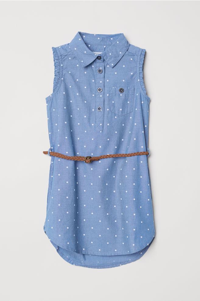 9bd0a79ad33 Robe chemise avec ceinture - Bleu pois - ENFANT