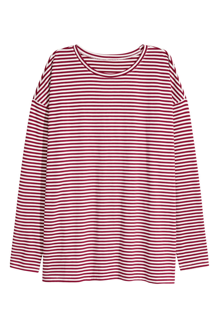 Jersey top - White/Red striped - Ladies | H&M CN