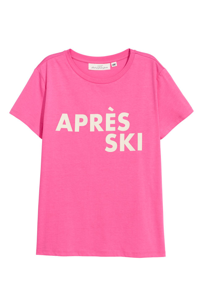 f9023a8f46b T-shirt avec impression - Rose fluo Après ski - FEMME