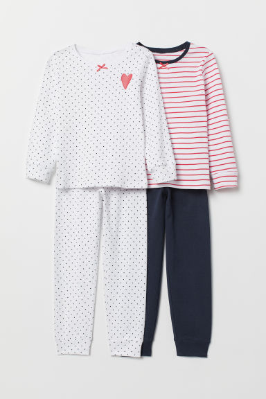 2-pack jersey pyjamas - Raspberry red/Striped - Kids | H&M IE